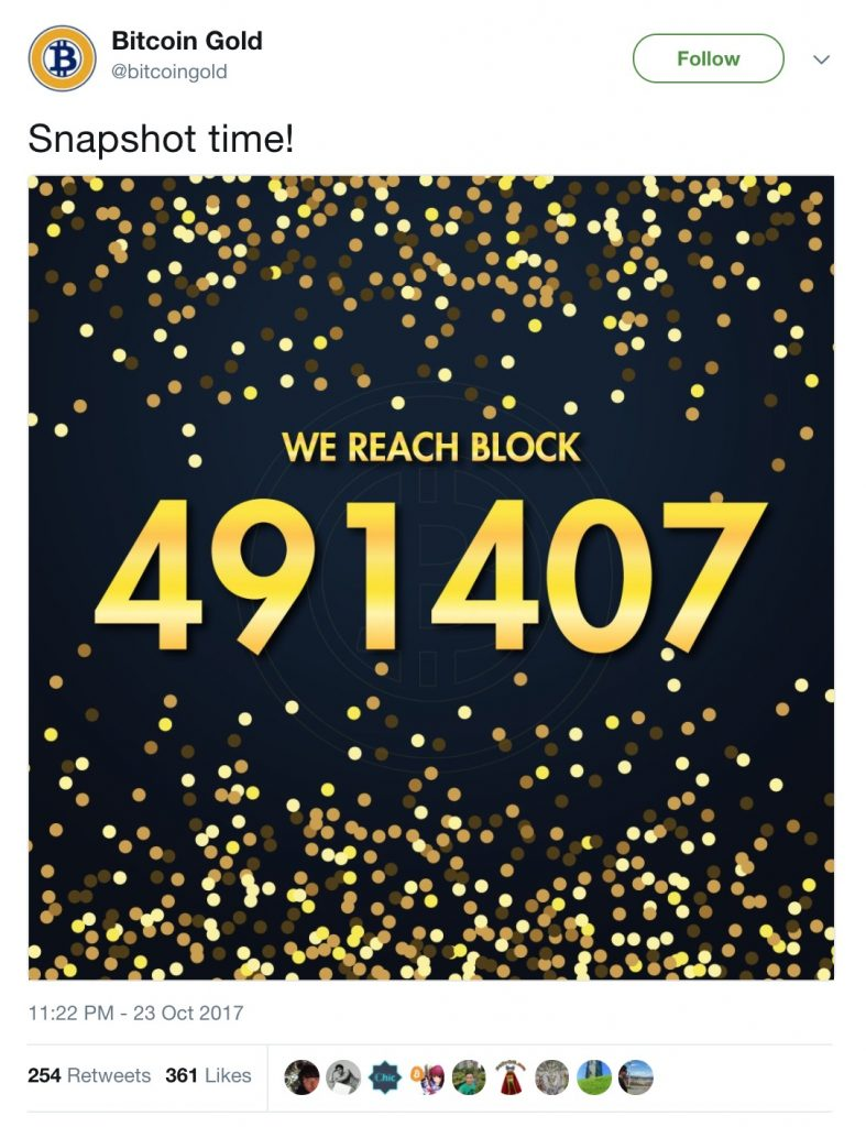 Bitcoin Gold Blocco 491407