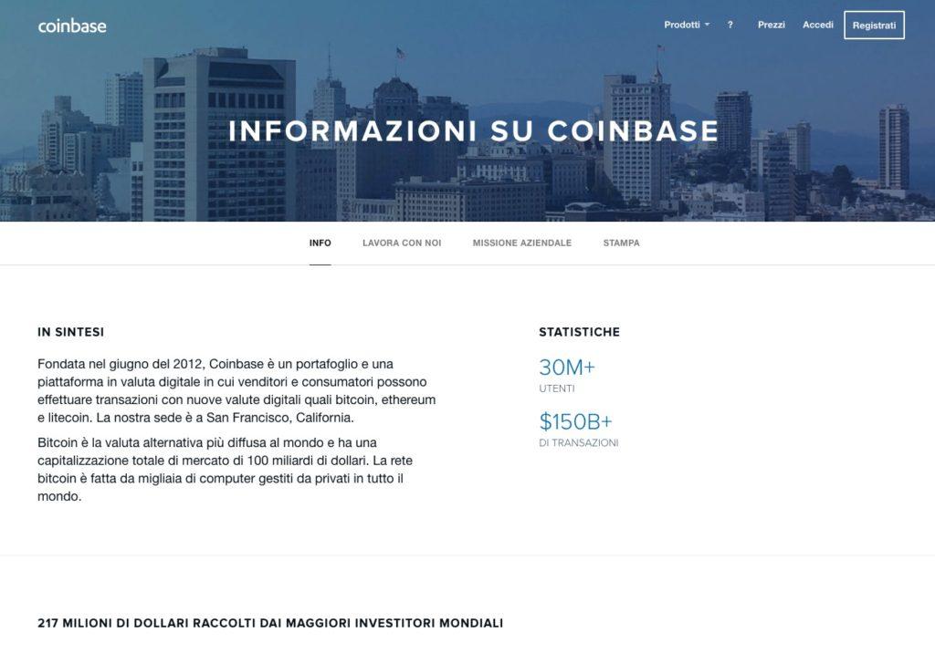 Coinbase Informazioni Piattaforma