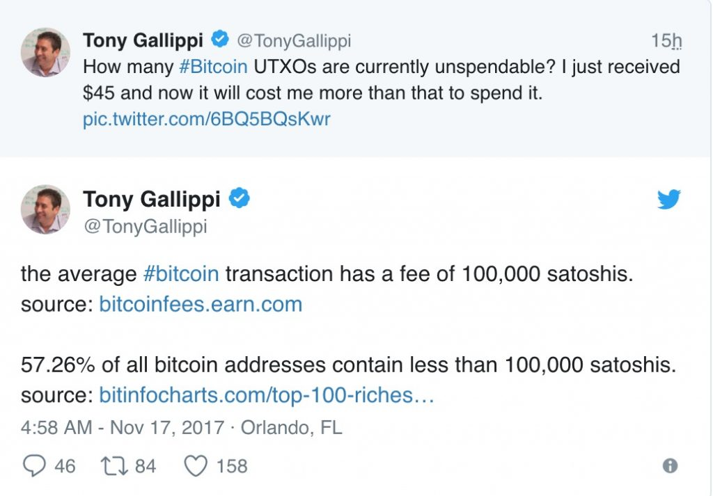 CEO Bitcoin Tony Gallippi le commissioni Bitcoin bruciano il 57.26% dei portafogli