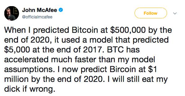 Mcafee tweet bitcoin previsione 1 milione