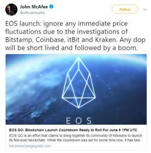 Mcafee ancora ottimista su EOS e criptovalute