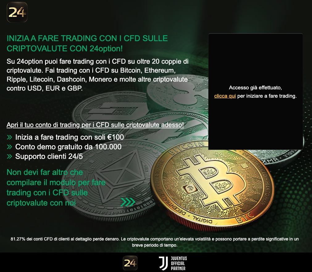 Investire in Criptovalute su 24Option