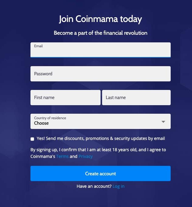 Coinmama Registrazione Conto